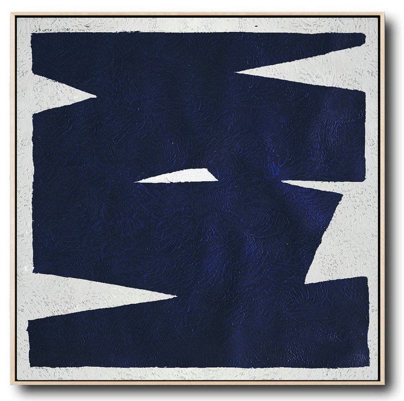 Large Abstract Art,Minimalist Navy Blue And White Painting,Huge Canvas Art On Canvas