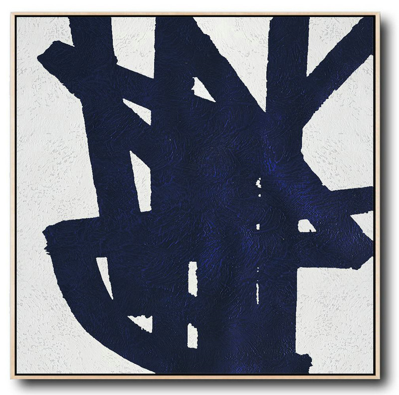 Original Artwork Extra Large Abstract Painting,Minimalist Navy Blue And White Painting,Extra Large Paintings