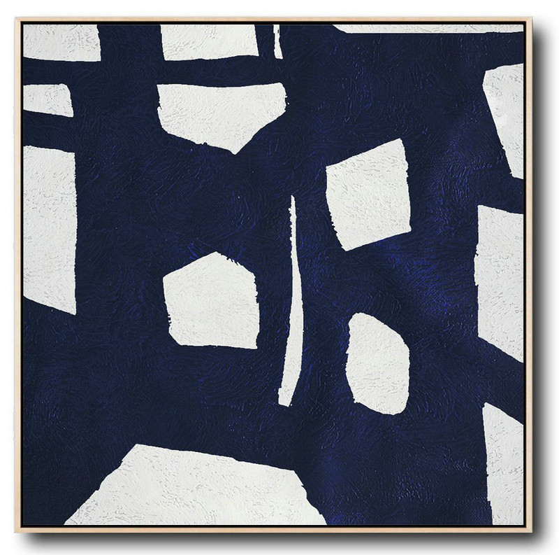 Extra Large Acrylic Painting On Canvas,Minimalist Navy Blue And White Painting,Modern Art
