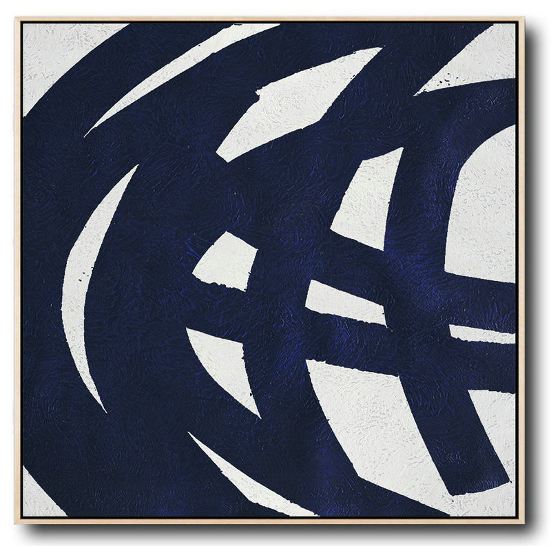 Large Abstract Art Handmade Oil Painting,Minimalist Navy Blue And White Painting,Living Room Wall Art