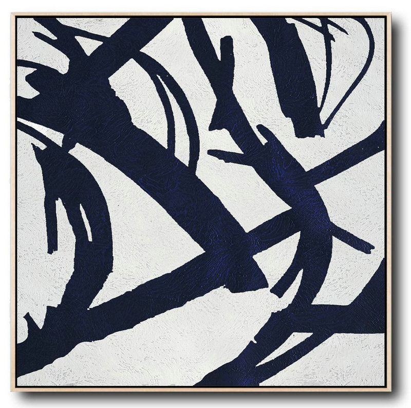 Extra Large Painting,Minimalist Navy Blue And White Painting,Acrylic Painting Large Wall Art