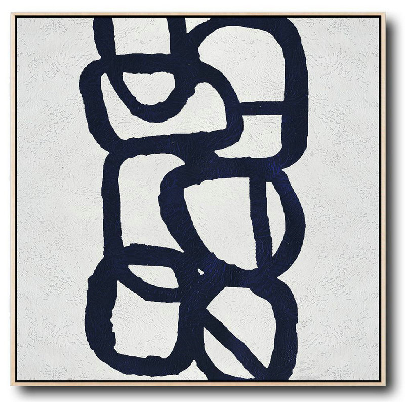 Large Abstract Art,Minimalist Navy Blue And White Painting,Home Decor Canvas