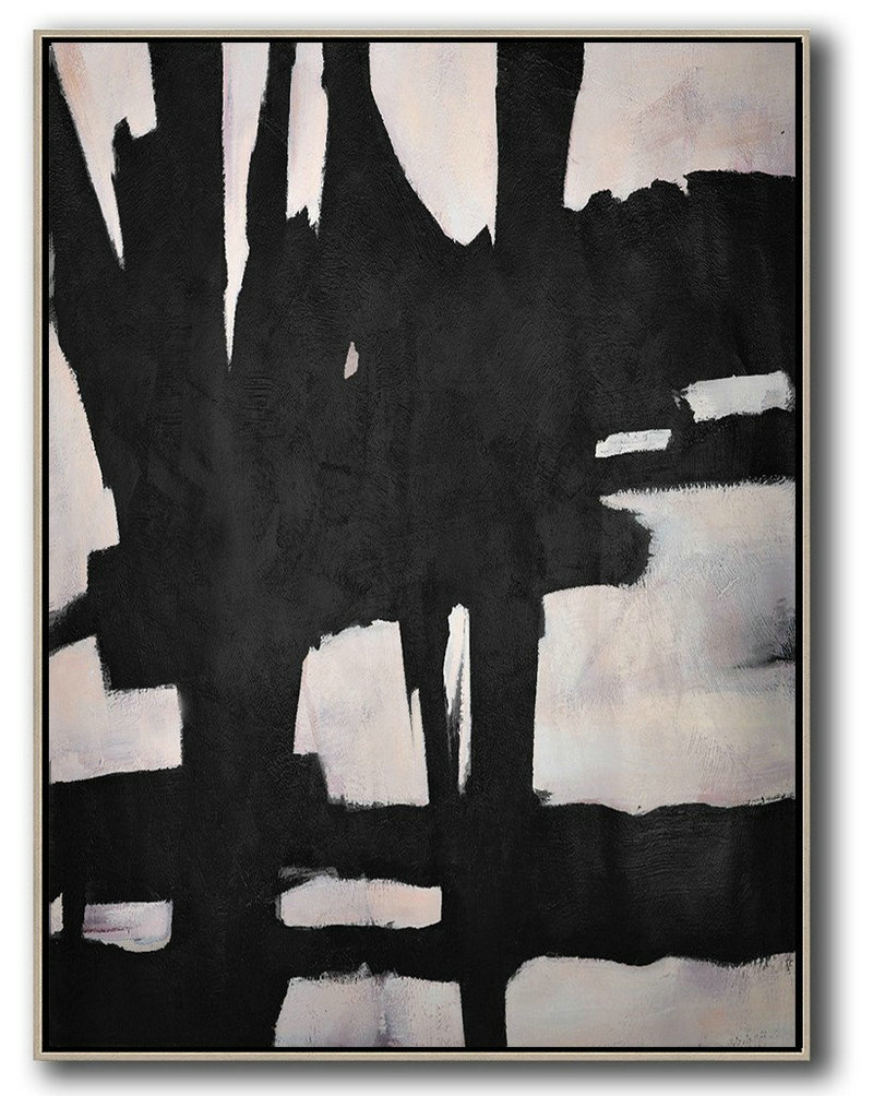 Extra Large Painting,Hand-Painted Black And White Minimal Painting On Canvas,Xl Large Canvas Art
