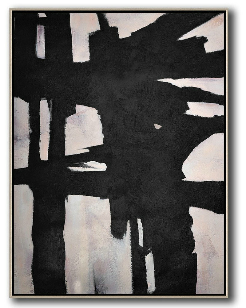 Handmade Painting Large Abstract Art,Hand-Painted Black And White Minimal Painting On Canvas,Large Canvas Art,Modern Art Abstract Painting
