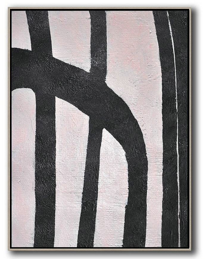 Extra Large Textured Painting On Canvas,Hand-Painted Black And White Minimal Painting On Canvas,Hand Painted Abstract Art