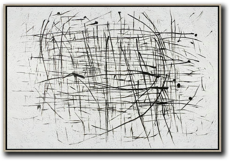 Original Art,Oversized Horizontal Minimal Art On Canvas - Modern Abstract Wall Art
