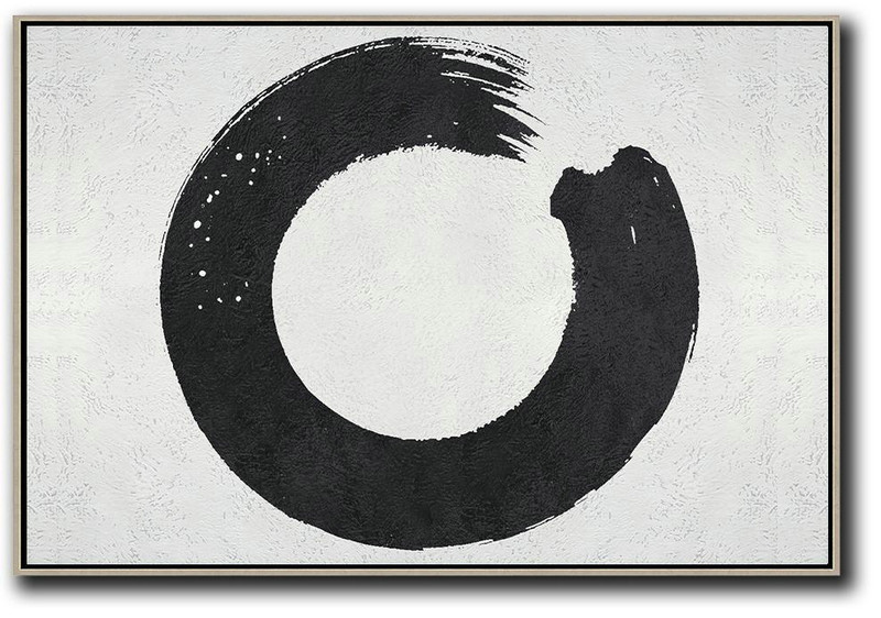 Giant Canvas Wall Art,Oversized Horizontal Minimalist Circle Art On Canvas, Black And White Minimalist Painting - Huge Canvas Art On Canvas