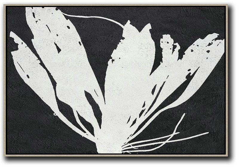 Big Art Canvas,Oversized Horizontal Minimal Art On Canvas, Black And White Minimalist Flower Art - Large Wall Art Canvas