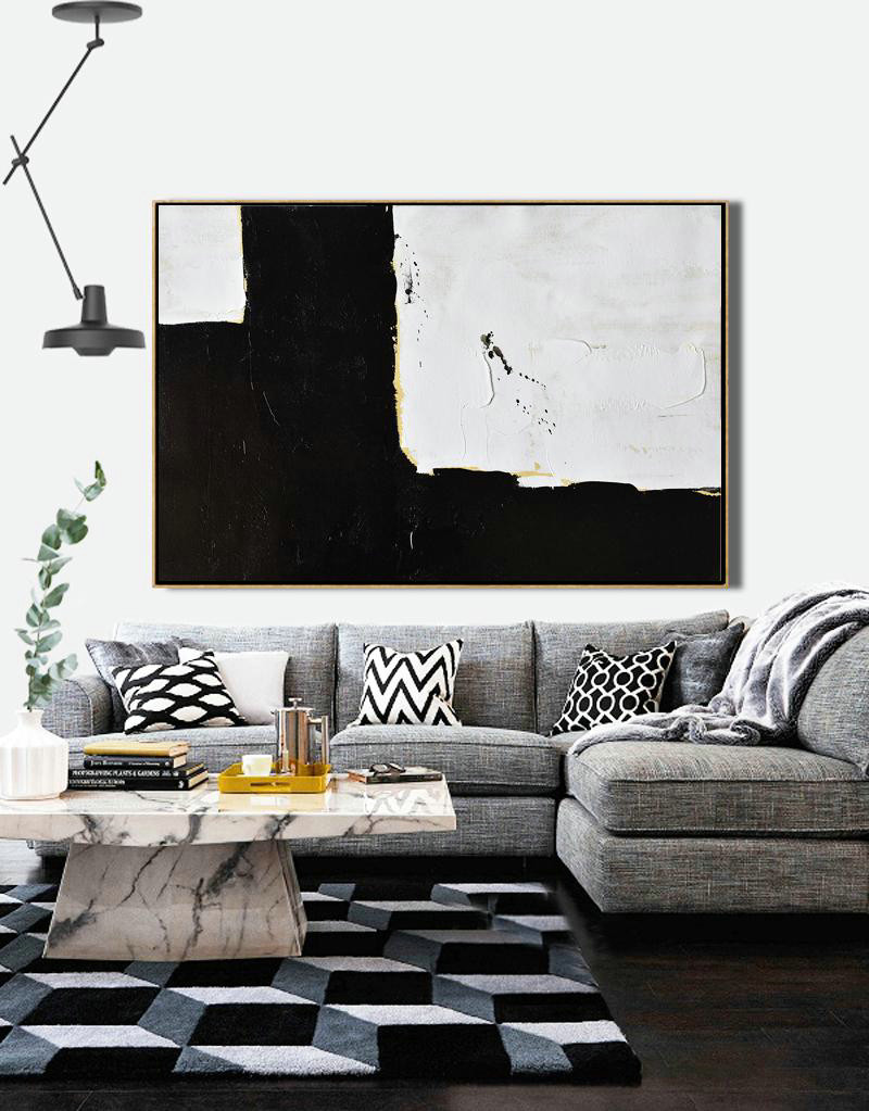 Huge Canvas Art On Canvas,Horizontal Palette Knife Minimal Canvas Art Painting Black White Beige - Large Abstract Art Handmade Acrylic Painting
