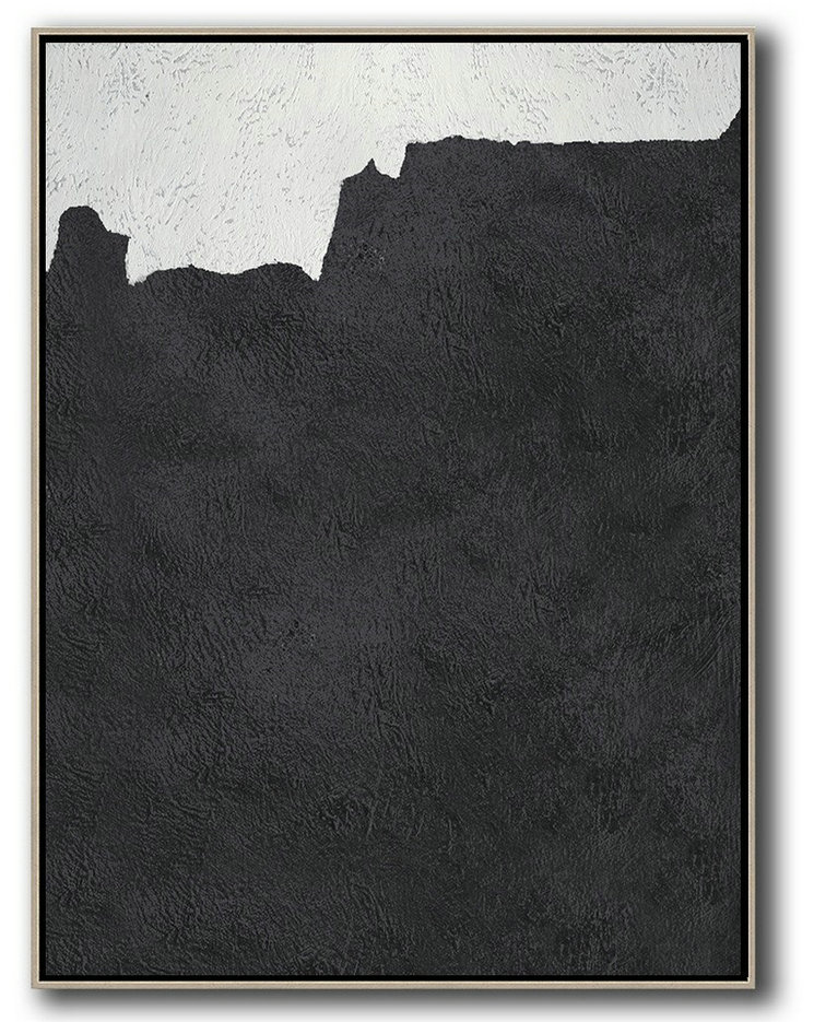 Handmade Extra Large Contemporary Painting,Black And White Minimal Painting On Canvas - Hand Paint Large Art