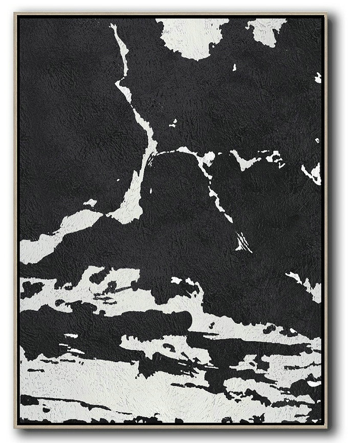 Large Modern Abstract Painting,Black And White Minimalist Painting On Canvas - Large Abstract Wall Art