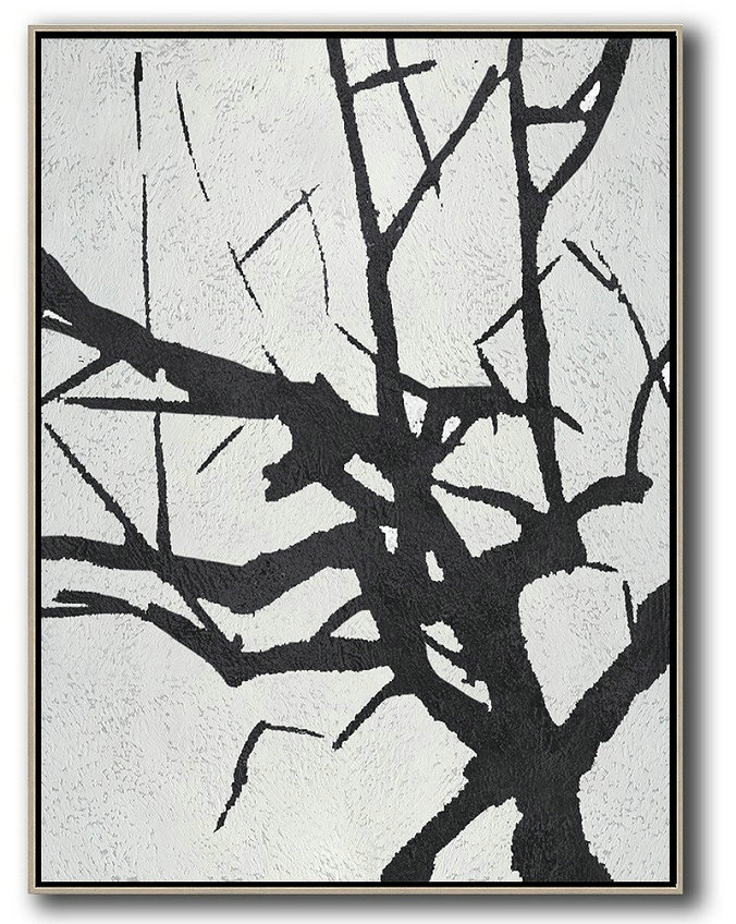 Original Painting Hand Made Large Abstract Art,Black And White Minimalist Painting On Canvas - Acrylic Painting On Canvas