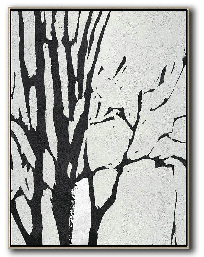 Extra Large Acrylic Painting On Canvas,Black And White Minimalist Painting On Canvas - Large Abstract Wall Art