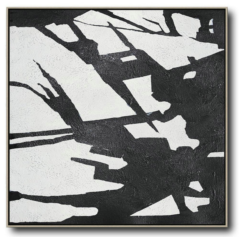 Extra Large Textured Painting On Canvas,Oversized Minimal Black And White Painting - Huge Abstract Canvas Art