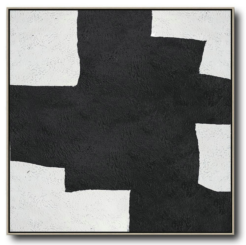 Abstract Painting Extra Large Canvas Art,Oversized Minimal Black And White Painting - Large Wall Art Canvas
