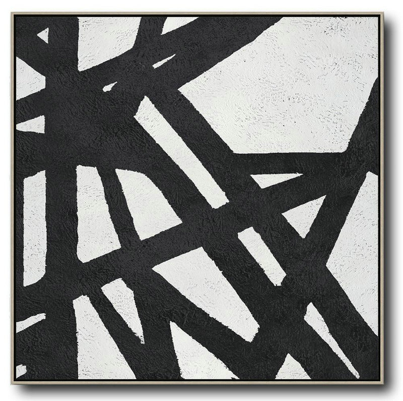 Modern Paintings,Oversized Minimal Black And White Painting - Modern Art