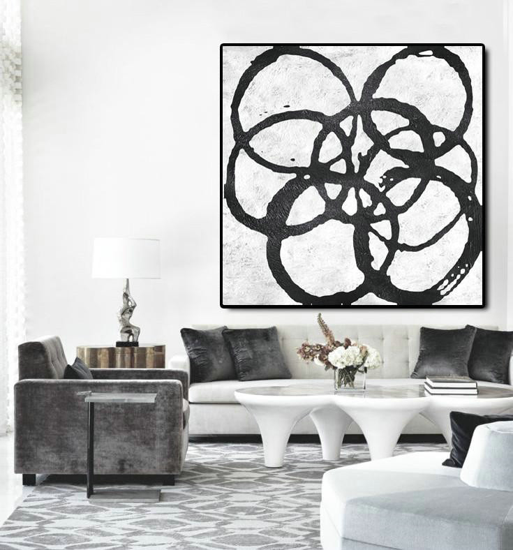 Handmade Large Contemporary Art,Oversized Minimal Black And White Painting - Hand Painted Acrylic Painting