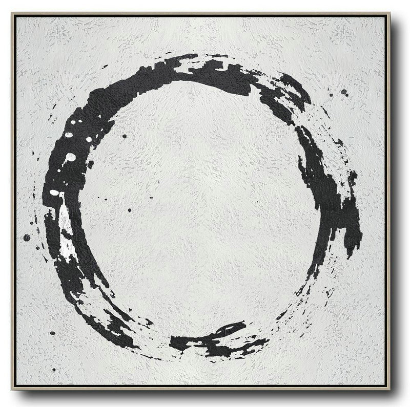 "Extra Large 72"" Acrylic Painting,Oversized Minimal Black And White Painting - Modern Wall Art"