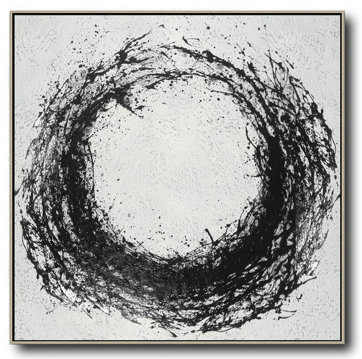 Handmade Large Contemporary Art,Oversized Minimal Black And White Painting