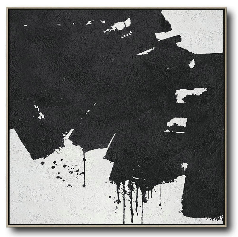 Large Abstract Art Handmade Oil Painting,Oversized Minimal Black And White Painting - Canvas Artwork For Living Room