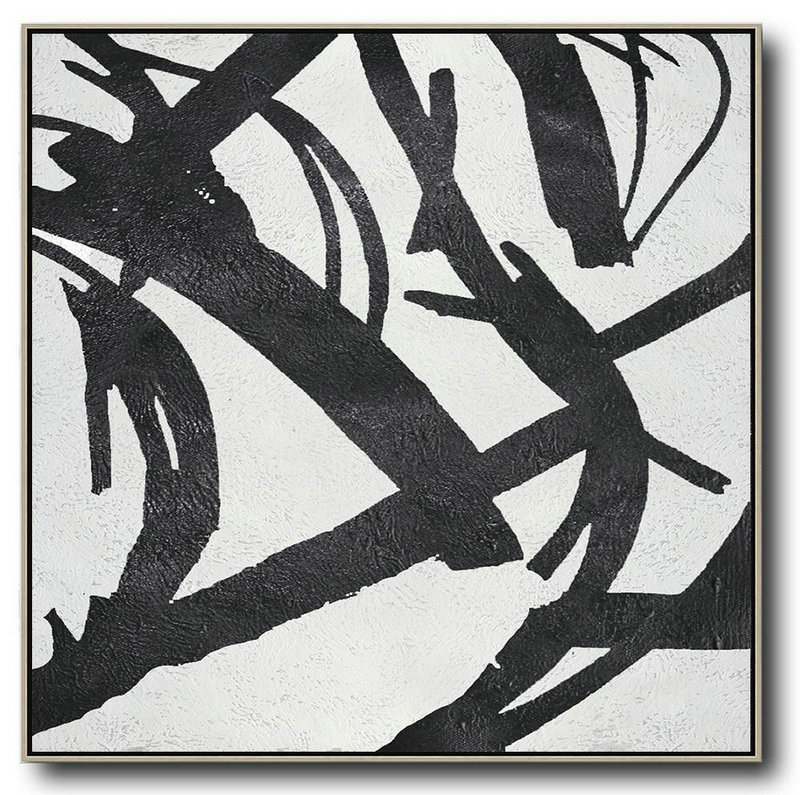 Abstract Painting Extra Large Canvas Art,Oversized Minimal Black And White Painting - Hand Painted Canvas Art