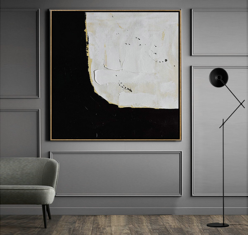 "Extra Large 72"" Acrylic Painting,Handmade Minimal Art Palette Knife Canvas Painting, Black White Beige - Large Contemporary Painting"