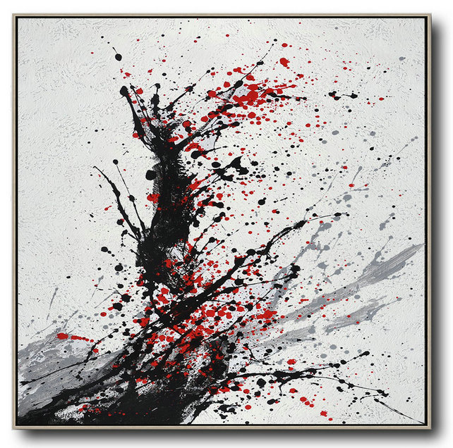 Extra Large Painting,Minimalist Drip Painting On Canvas, Black, White, Grey, Red - Hand Painted Acrylic Painting