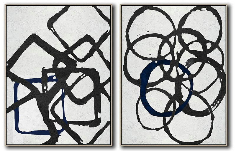 Abstract Painting Extra Large Canvas Art,Set Of 2 Minimal Painting On Canvas - Hand Paint Abstract Painting