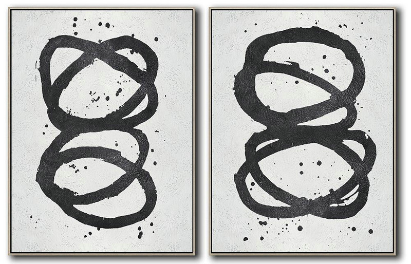 Extra Large Canvas Art,Set Of 2 Minimal Painting On Canvas - Large Abstract Wall Art