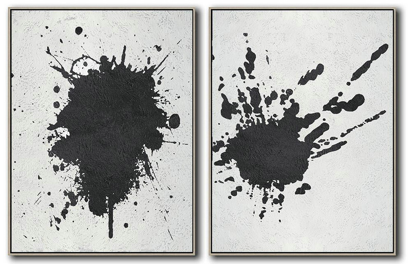 "Extra Large 72"" Acrylic Painting,Set Of 2 Minimal Painting On Canvas - Hand Painted Abstract Art"