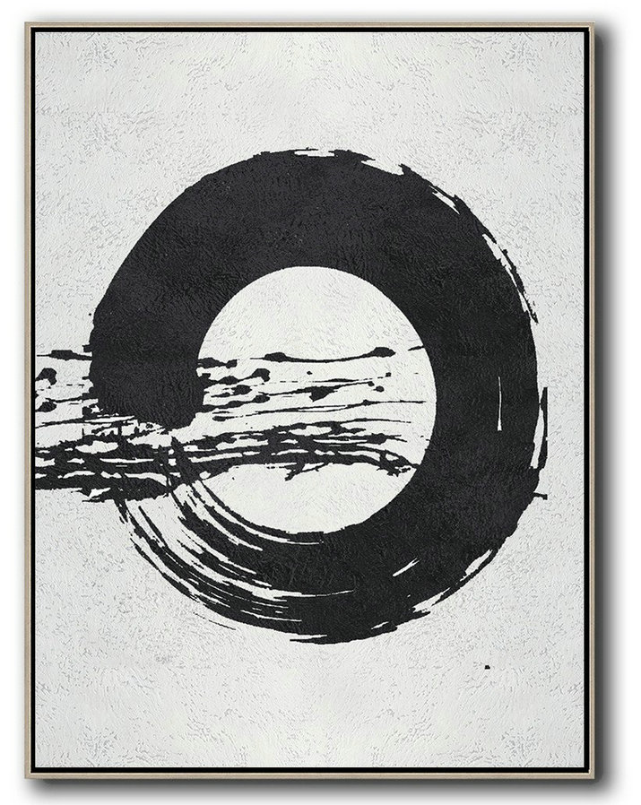 Large Abstract Art,Black And White Minimal Painting On Canvas - Personalized Canvas Art