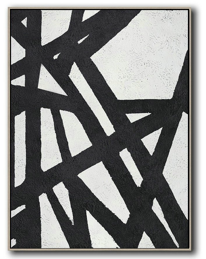 Large Modern Abstract Painting,Black And White Minimal Painting On Canvas - Contemporary Abstract Painting