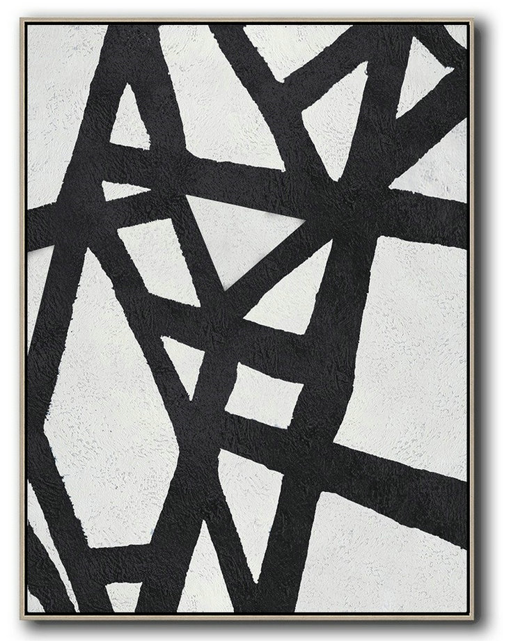Huge Abstract Painting On Canvas,Black And White Minimal Painting On Canvas - Modern Art Oil Painting