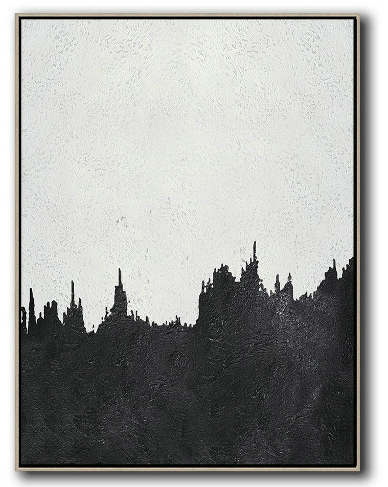 Abstract Painting Extra Large Canvas Art,Black And White Minimal Painting On Canvas - Acrylic On Canvas Abstract