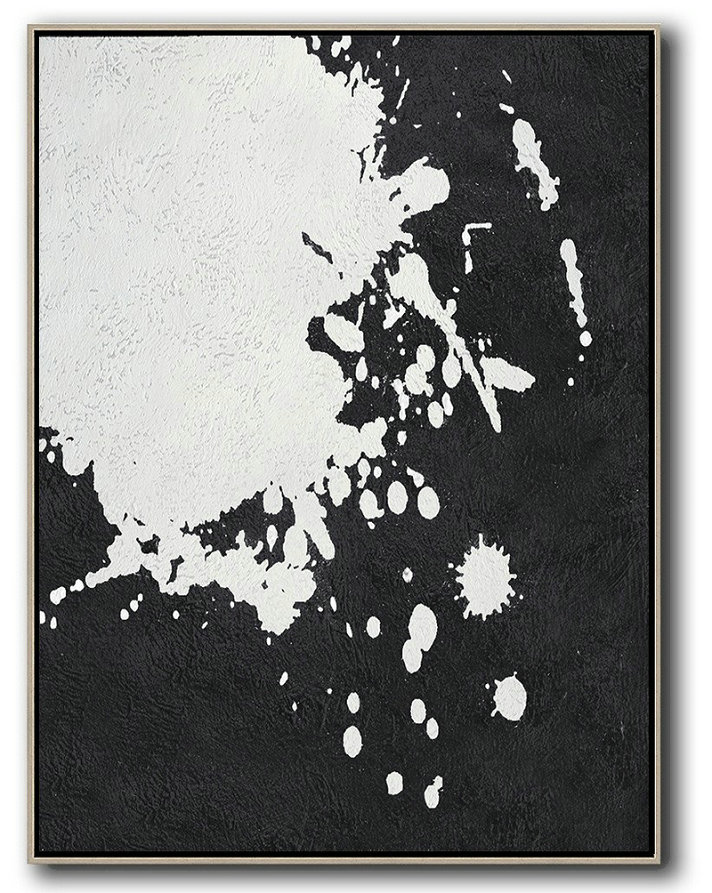 Hand Painted Extra Large Abstract Painting,Black And White Minimal Painting On Canvas - Abstract Painting For Home