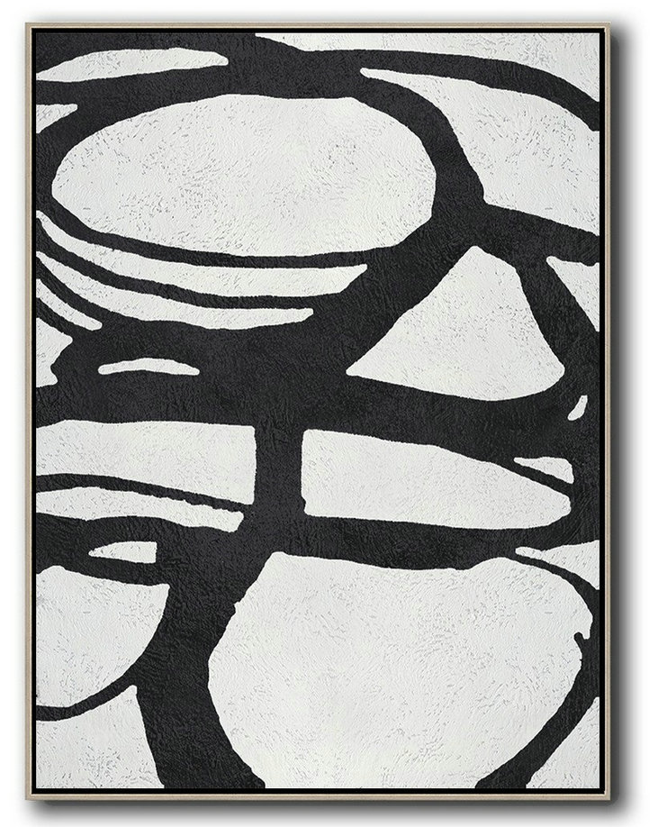 Large Abstract Art,Black And White Minimal Painting On Canvas - Abstract Paintings On Sale