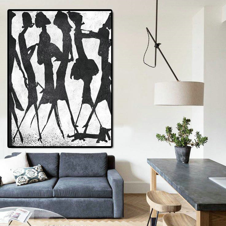Hand Made Original Art,Black And White Minimal Painting On Canvas - Unique Canvas Art