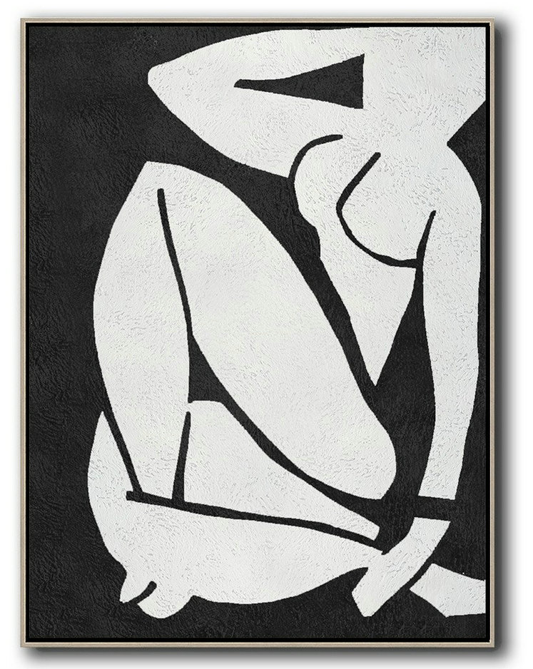 Extra Large Acrylic Painting On Canvas,Black And White Minimal Painting On Canvas - Large Wall Canvas