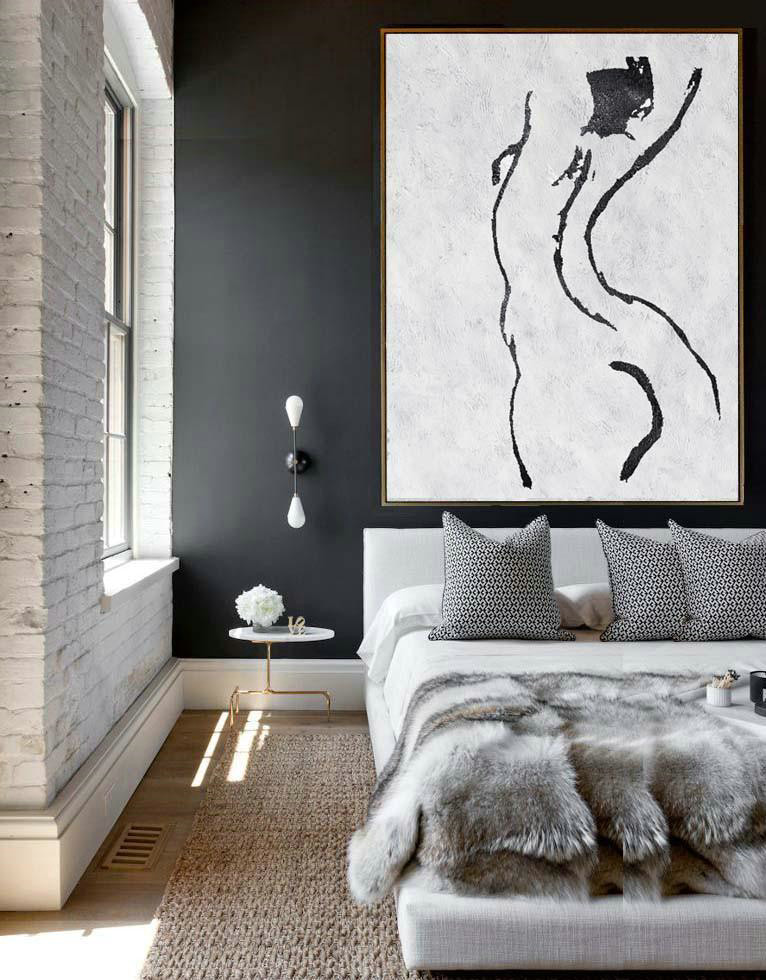 Hand Painted Abstract Art,Black And White Minimal Painting On Canvas - Giant Canvas Wall Art