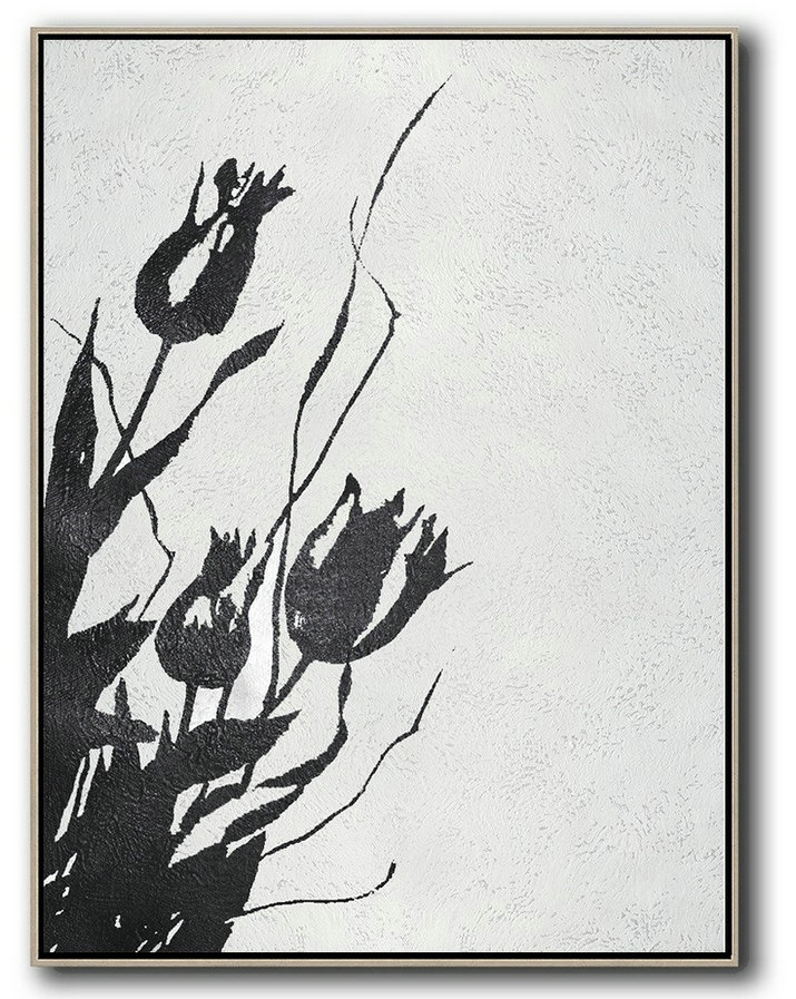 Canvas Artwork For Sale,Black And White Minimal Painting On Canvas - Acrylic Painting On Canvas