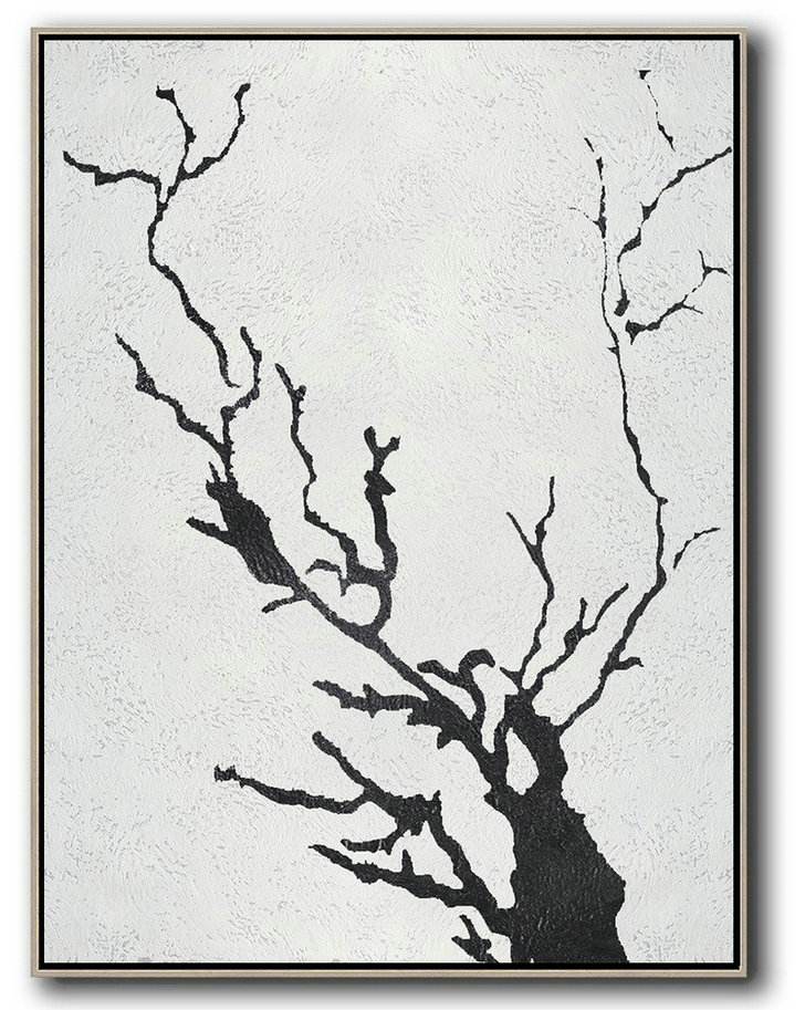 Unique Canvas Art,Black And White Minimal Painting On Canvas - Canvas Paintings For Sale