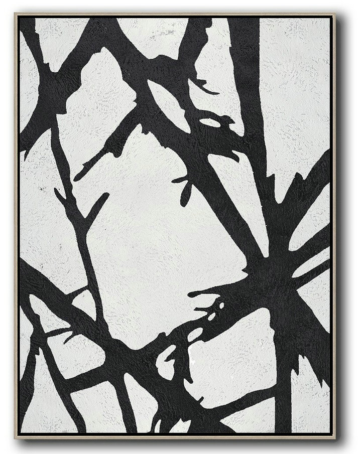 Acrylic Painting Large Wall Art Black And White Minimal On Canvas Ideas For