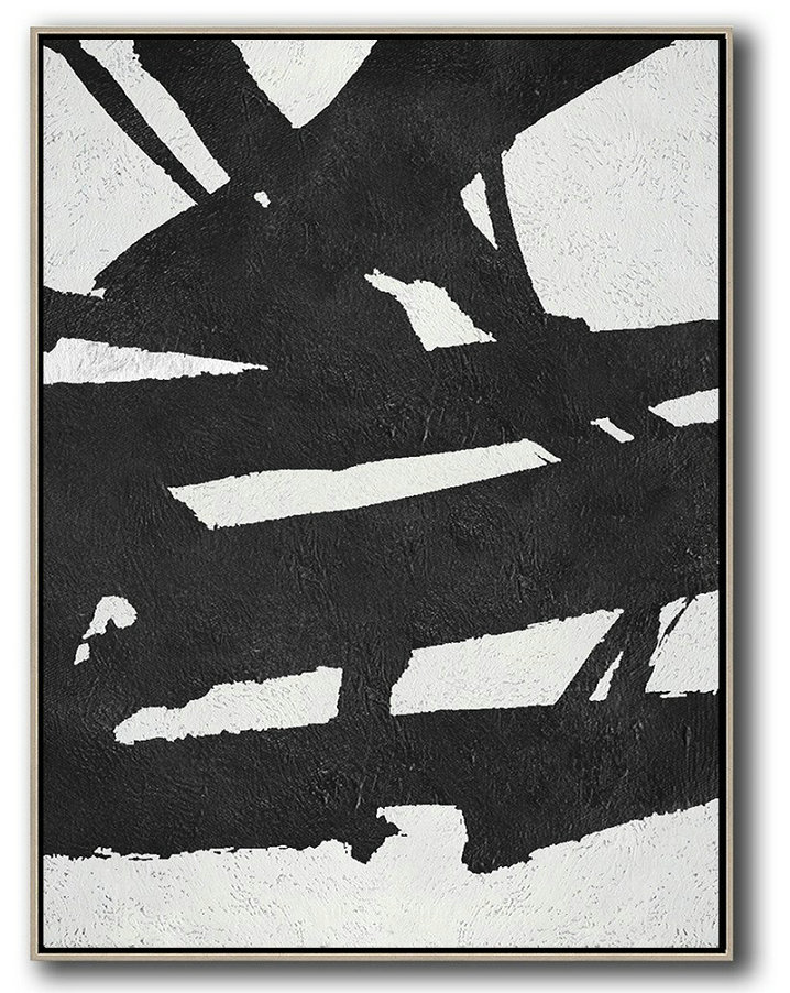 Abstract Painting Extra Large Canvas Art,Black And White Minimal Painting On Canvas - Contemporary Abstract Painting