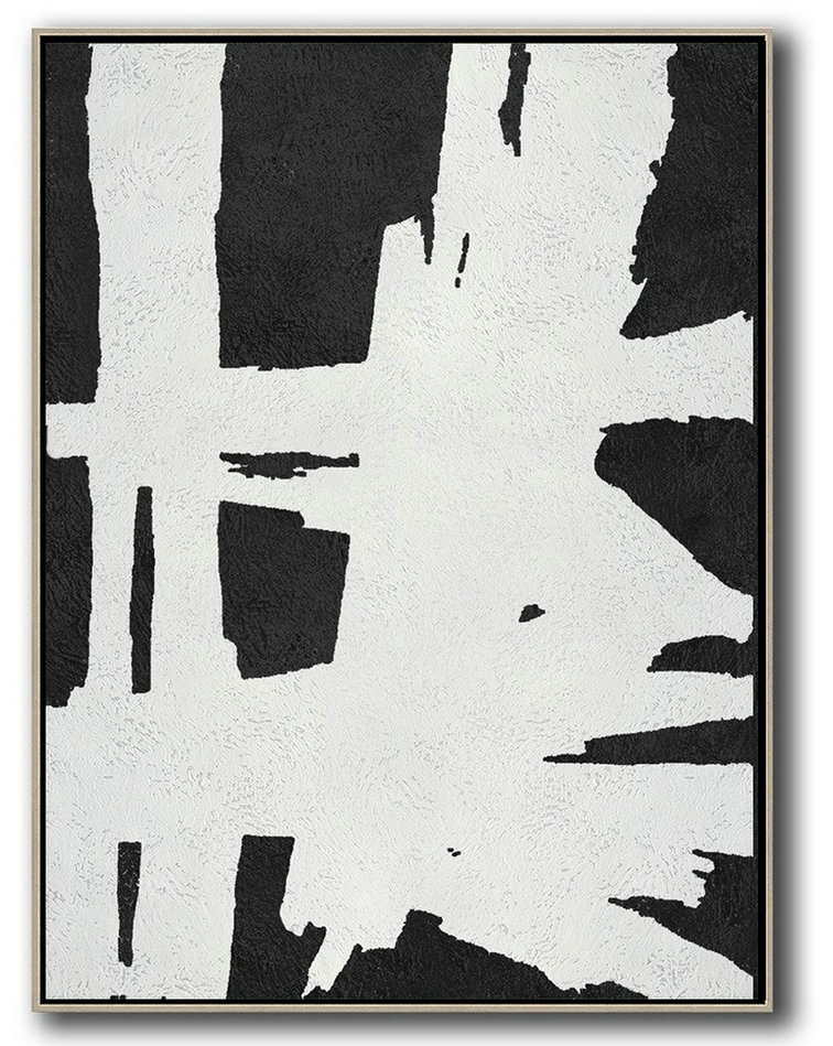 Large Contemporary Art Acrylic Painting,Black And White Minimal Painting On Canvas - Canvas Paintings For Sale