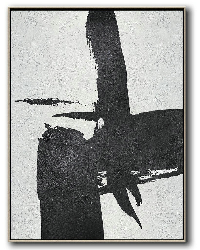 Large Abstract Art,Black And White Minimal Painting On Canvas - Wall Art Painting