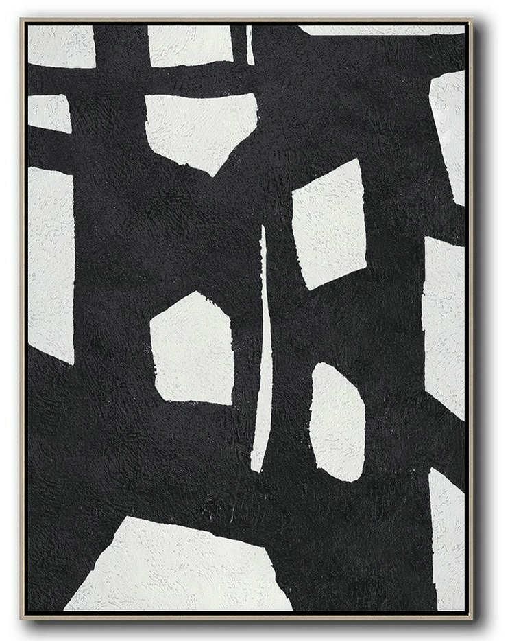 Acrylic Painting On Canvas,Black And White Minimal Painting On Canvas - Modern Painting Abstract