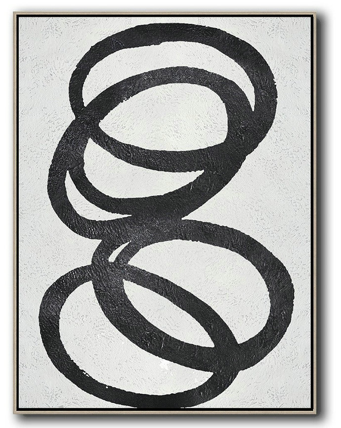 Art Work,Black And White Minimal Painting On Canvas - Contemporary Art Acrylic Painting
