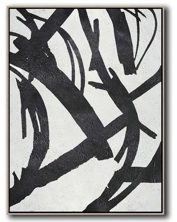 "Extra Large 72"" Acrylic Painting,Black And White Minimal Painting On Canvas - Xl Large Canvas Art"
