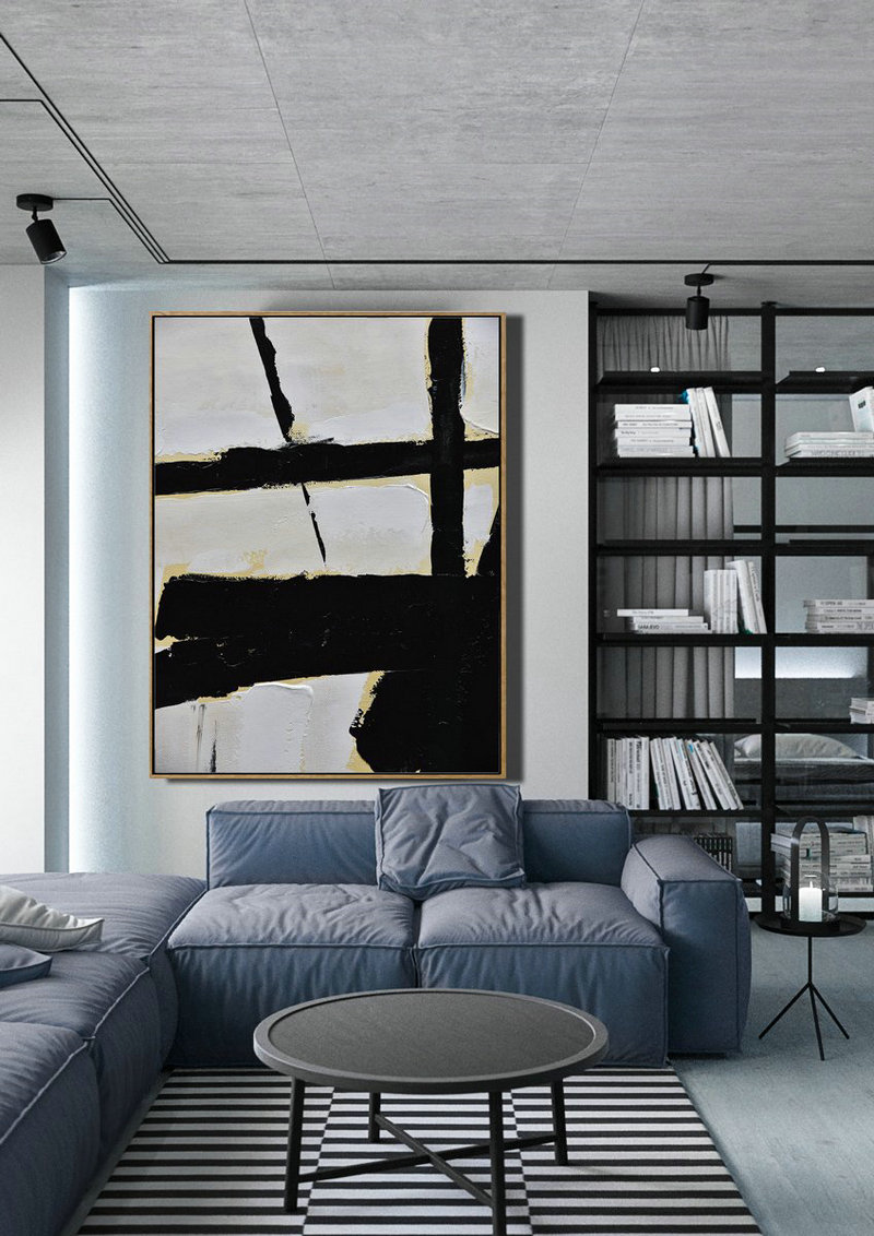 Abstract Painting Extra Large Canvas Art,Minimalist Painting On Canvas, Palette Knife Vertical Minimal Art - Textured Painting Canvas Art