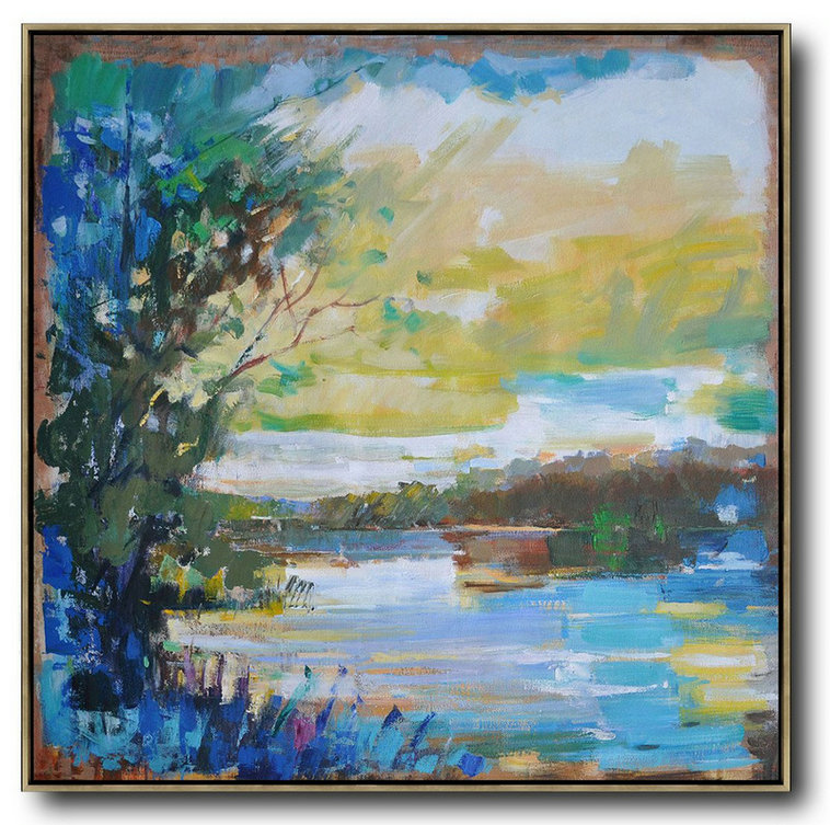 Extra Large Textured Painting On Canvas,Abstract Landscape Oil Painting,Extra Large Paintings,Yellow,White,Dark Green,Blue